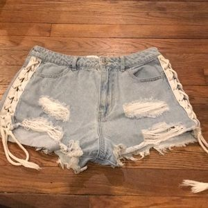 Forever 21 Lace-Up Side Jean Shorts